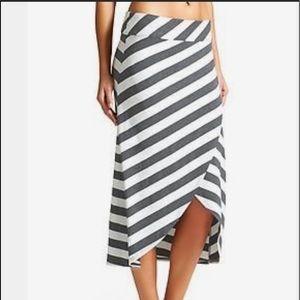 S Athleta Ribbon Wrap Stripe midi Skirt blue white